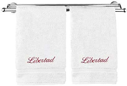 Monogrammed Personalized Name Hand Towels Custom Embroidered Towels Set of Two White product image