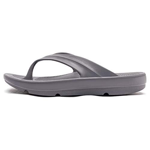ODOUK Mens Womens Sport Thong Sandals Unisex Casual Beach Flip Flops for Indoor and Outdoor(Grey,Women 12/Men 10)