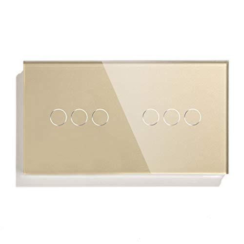 BSEED Smart Alexa Wifi Rollladen-Touch-Schalter Doppel 1 Gang 1 Vía Blind Vorhangschalter Kristallglasplatte Unterstützung Google Home Gold