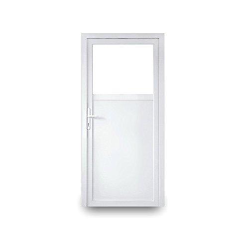 Nebeneingangstür mit Drückergarnitur - weiß - 110 x 200 cm - Innenöffnend - DIN Rechts - 2-fach-Verglasung - verschiedene Maße