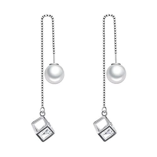 LjzlSxMF Las Mujeres cuelga los Pendientes de Gota Colgante de Perla de la Borla Larga Cubo de Cristal de Plata a 10cm Muchachas de Las Mujeres