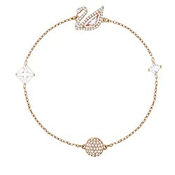 Dazzling Swan Bracelet, Multi-colored, Rose-gold tone plated