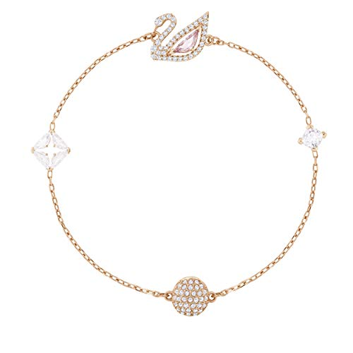 Swarovski Dazzling Swan Collection Women's Bracelet, Pink and White Crystals with Rose-Gold Tone Plated Chain and Magnetic Closure