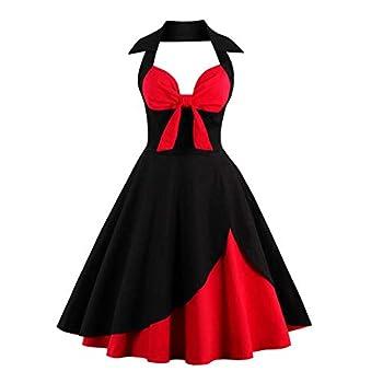 Women s Vintage Polka Audrey Tea Dress 1950s Halter Audrey Retro Rockabilly Prom 50 s 60 s A-Line Evening Birthday Party Swing Dress Black 3XL