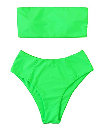 OMKAGI Women's 2 Pieces Bandeau Bikini Swimsuits Off Shoulder High Waist Bathing Suit(Large,Neon Green)