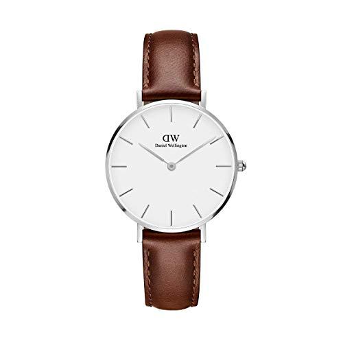 Daniel Wellington Petite St Mawes, Braun/Silber Uhr, 32mm, Leder, für Damen