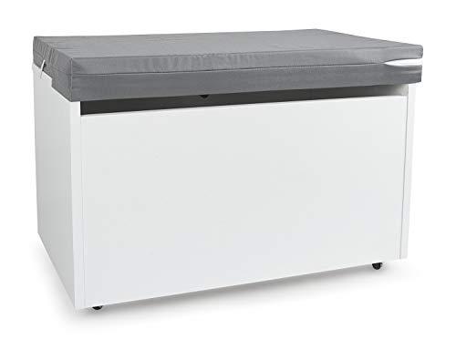 LEOMARK Blanco Caja de madera banco XXL con almacenamiento para juguetes con Asiento, Baúl de juguetes sobre ruedas + Almohada - Cojín, Dim: 71 cm x 40.5 cm x 45 cm/WxDxH/