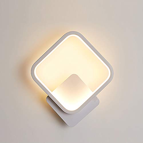 Yafido Aplique Pared Interior LED Cuadrado Lámpara de pared 12W Blanco Cálido 3000K Iluminación de Pared para Escalera Salon Dormitorio Sala Pasillo