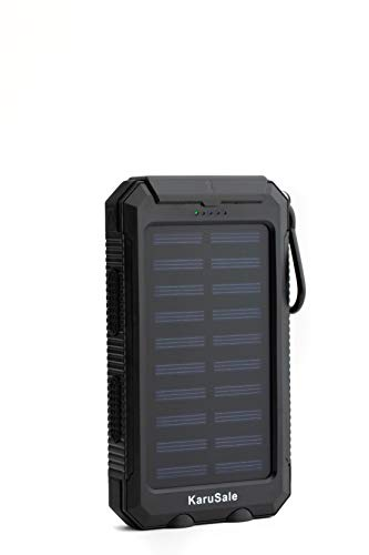 Solar Power Bank Portable Charger 50000mah Battery Pack 2 LED 2 USB Camping Solar Panels Waterproof Car Travel Outdoor External Backup Flashlight for All Cell Phones and Tablets Black+Black
