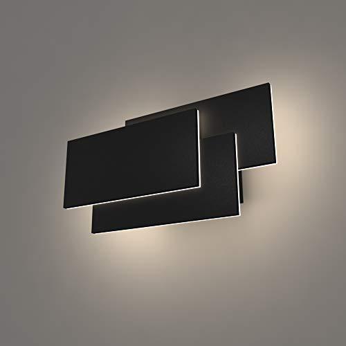 K-Bright LED Wandleuchte Leuchte Wandlampe Badlampe Wandstahler Effektlampe,24W,Aluminum,IP 20,220V,Modern Flurlampe für Innen Schlafzimmer, Wohnzimmer, Treppenhaus,4000K Natürliches Weiß,Schwarz