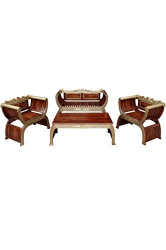 4er Set Orientalische Lounge Sitzecke aus Holz Kavita Braun Gold | Marokkanische Sitz-Gruppe Sofa 2 Sitzer Zwei Sessel und EIN Couchtisch Outdoor im Garten Balkon oder Indoor im Wohnzimmer | 4 Teilig