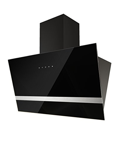 respekta Design Schräghaube Dunstabzugshaube kopffrei Glas 90 cm schwarz EEKL A Touch Control / LED Beleuchtung / 3 Leistungsstufen / Abluft und Umluft /