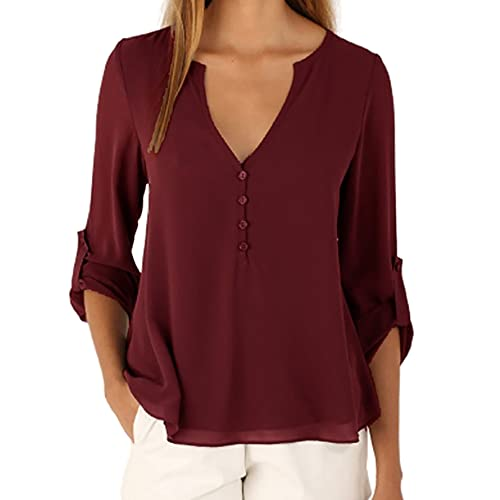 Mayntop Womens Tops Shirt Long Sleeve Chiffon Solid Color Plain Roll-Up Sleeves Plus Size V-Neck Button Loose Blouse(A Wine,3XL)
