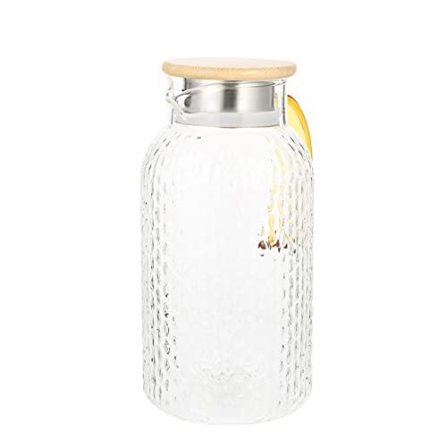 Angoily Jarra de Cristal de Jarra de Agua de Gran Capacidad con Tapa de Acero Inoxidable Y Jarra de Agua de Vidrio de Borosilicato para Agua Fría Y Caliente Bebida de Jugo de Té Helado 2L