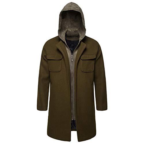 Deelin herfst, winter, warm, trenchcoat, modieus, eenvoudige ritssluiting, tweedelig, slim fit mantel met capuchon, wollen jas, groen, vintage stijl