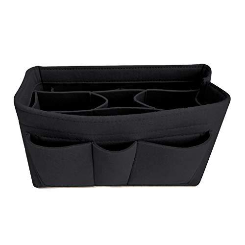 Handtaschen-Organizer – 2 in1 Filz Geldbörse Organizer Einsatz mit Innentasche mit Reißverschluss, Taschen Organisator, Schwarz, Mittel