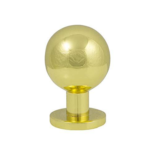Gedotec Design Möbelknopf Messing poliert Schrank-Knopf Vintage für Schubladen - GR10104 | edler Türknopf rund | Kommoden-Knopf Küche mit Ø 18 mm | 1 Stück - Möbel-Knauf Antik klassisch mit Schrauben
