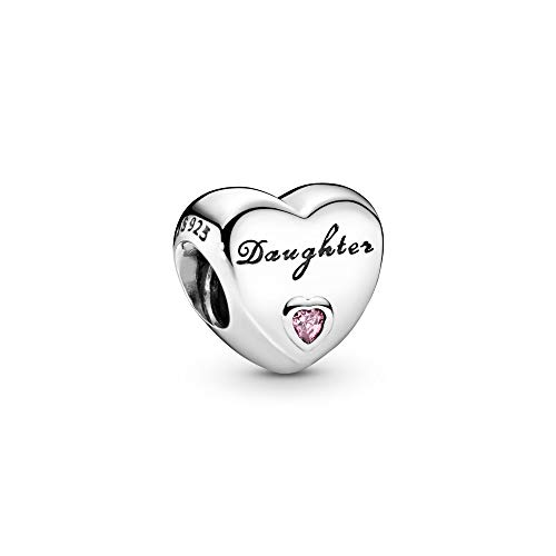 Pandora Moments Daughter-Herz Charm Tochter Sterling Silber, Cubic Zirconia Pink 791726PCZ