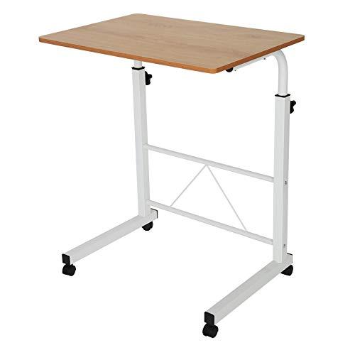 DHOUTDOORS Beistelltisch Laptop Tisch Schreibtisch Höhenverstellbarer Betttisch auf Rollen Tisch für Bett (Braun)