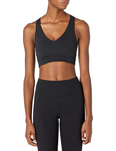 Amazon Brand - Core 10 Women's Spectrum Long-Line Strappy Cross Back Yoga Sports Bra, Black, X-Large