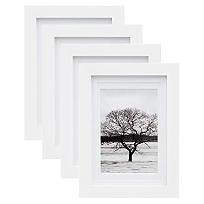 Egofine 5x7 Picture Frames 4 PCS - Made of Solid Wood HD Plexiglass for Table Top Display and Wall Mounting Photo Frame White