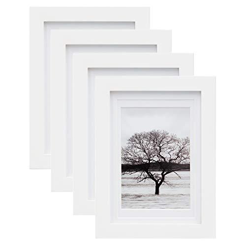 Egofine Bilderrahmen 4er Set 13x18 cm 5x7 Inch weiß, 4 Stück, freistehend und wandhängend, Bilderrahmen aus Massivholz, mit HD Plexiglas