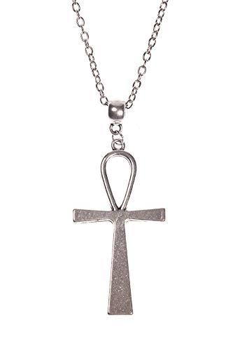 JapanAttitude Collier argenté avec Pendentif Grand Ankh égyptien Croix de Vie, Vintage Occulte