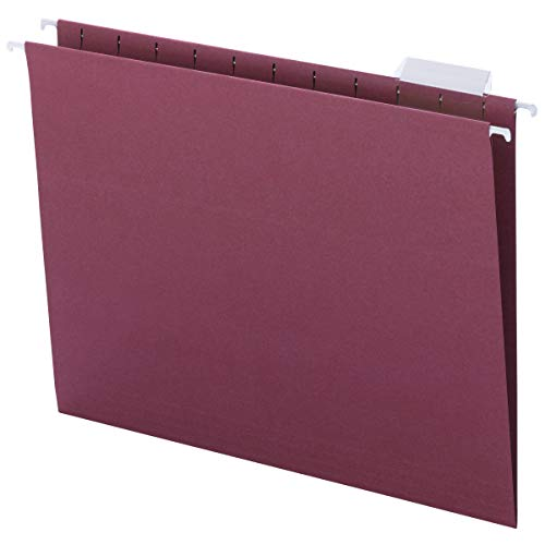 Smead Colored Hanging File Folder with Tab, 1/5-Cut Adjustable Tab, Letter Size, Maroon, 25 per Box (64073)