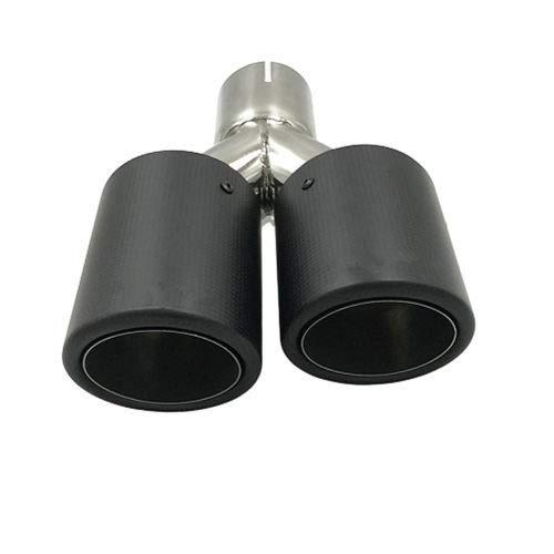 BOENTA Auspuffblende Auto Auspuff Endrohr Y-Typ Double-Out Carbon Endrohr Schalldämpfer Auspuff Edelstahl Schwarz Doppel Universal Für Auspuff matte curling edge
