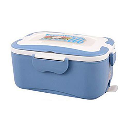 WXF 1.5L elektrische Lunchbox, 24V großen LKW Mini-Elektro-Lunchbox, 12V Auto elektronische Lunchbox, Edelstahl-Liner, Reiskocher Isolierung (blau),12V