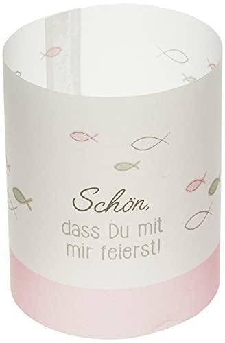 Ursus 184000162 Mini Tischlichter, Ambiente, Schön, dass Du mit mir feierst! Design, rosa, ca. 10 x 27 cm, Durchmesser ca. 8 cm, 115 g/qm, 5 Blatt,...