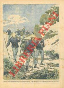 I soldati alpini trasportano la statua in bronzo della Madonna delle nevi sulla cima del Rocciamelone.