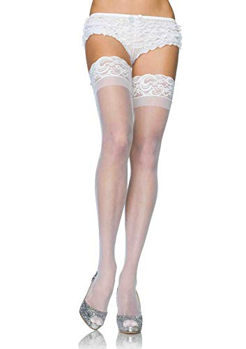 Stay Up Lycra Sheer Thigh High (White;Plus Size)