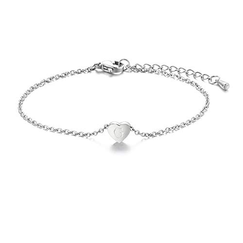Tarsus G Initial Letter Stainless Steel Silver Alphabet Bracelets Monogram Script Heart Charm Jewelry Gifts for Women Girlfriend Teen Girls