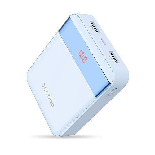 Yoobao M4Pro 10000mAh Cargador portátil Banco de teléfono móvil Batería externa ultra pequeña y compacta, entrada dual (relámpago y micro USB) Salida dual con Smart LED Digital Display para iPhone Samsung Galaxy Huawei etc-Azul