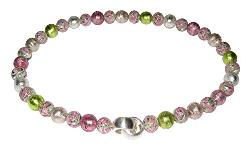 Murano-Kette Collier Perlen Handarbeit echtes Murano-Glas hochwertige Klapp-Schließe Sterling-Silber 925-er Goldschmiede-Arbeit Unikat besonders