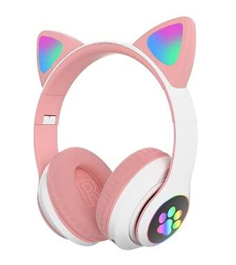 Fone de Ouvido/Headset Gamer Orelhas de Gatinho Com LED Sem Fio, Bluetooth e Com Microfone (Branco e rosa)