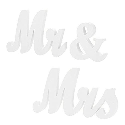 EQLEF® Mr Mrs Letras de madera, decoración de bodas Letreros de boda Presente Mesa de boda Adornos de fotografía
