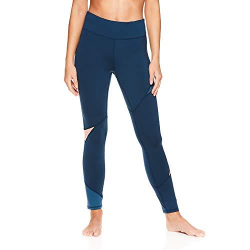 gaiam Damen Om Yogahose – Performance Kompressionshose lang Spandex Leggings - Blau - Klein