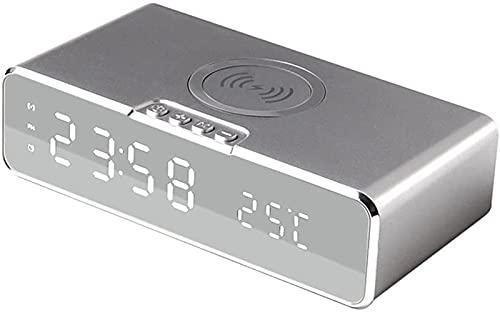 ASDF Reloj Despertador de Carga inalámbrica Reloj Despertador Digital LED Compatible para teléfonos Pantalla de Carga inalámbrica Tiempo de Temperatura 10W Cargador inalámbrico para Dormitorio