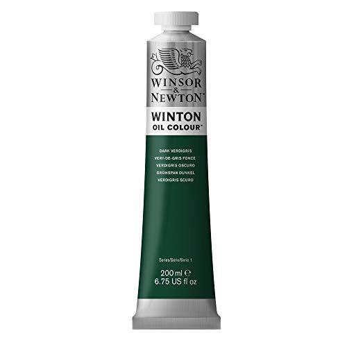 Winsor und Newton 1437405 Winton, feine hochwertige Ölfarbe - 200ml Tube mit gleichmäßiger Konsistenz, lichtwiderstandsfähig, hohe Deckkraft, reich an Farbpigmenten - Grünspan Dunkel