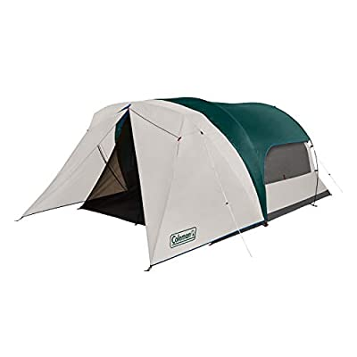 Coleman Cabin Camping Tent with Weatherproof Screen Room   6 Person Cabin Tent with Enclosed Screened Porch, Evergreen