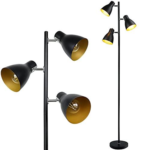 Depuley Floor Lamp, 3000K Rotatable 3 Lights Standing Lamp, Industrial...