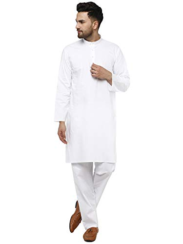 SKAVIJ Men's Tunic Cotton Kurta Pajama Set Indian Yoga Casual Summer Dress (X-Large, White)