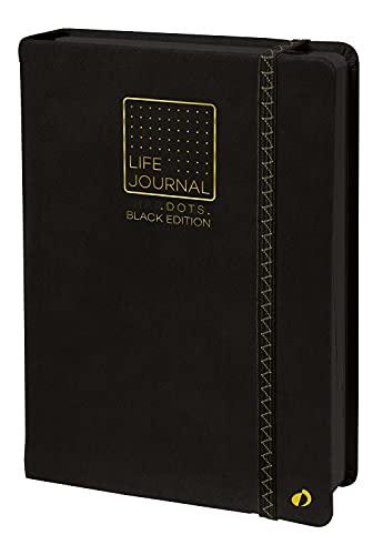 Quo Vadis 2371198Q TACCUINO LIFE JOURNAL BLACK EDITION, Multilingua Colore Nero 224 pagine-Formato 15x21cm con elastico, Carta Nera Riciclata, Copertina in Sintetico, Life Journal