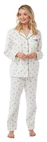 Marlon Damen Pyjama aus 100% gebürsteter Baumwolle mit Knopfleiste vorne Gr. 44/46 DE, Rose