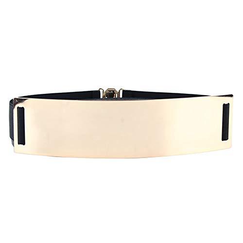 Women Elastic Waist Wide Belts Plus Size 27'-70'Dresses Coat Fashion Metal Belt Thin Stretch Skinny Cinch Waistband 2.36'Width(Black, 51'-70'waist)