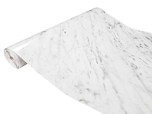 DecoMeister Klebefolien in Stein-Optik Steinfolien Deko-Folien Steindekor Selbstklebefolie Möbelfolie Selbstklebend Stein 90x100 cm Carrara Grau