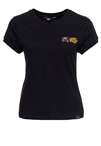 Queen Kerosin Camiseta para mujer con estampado, corte ancho, algodón, diseño de Holy Rebel Negro XS