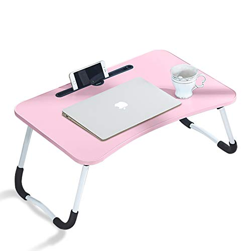 CLIPOP Adjustable Laptop Bed Table,Portable Lap Desk Bed Tray Laptop with Foldable Legs Folding Breakfast Serving Coffee Tray Notebook Stand Reading Holder for Couch Sofa Floor Kids (Pink)